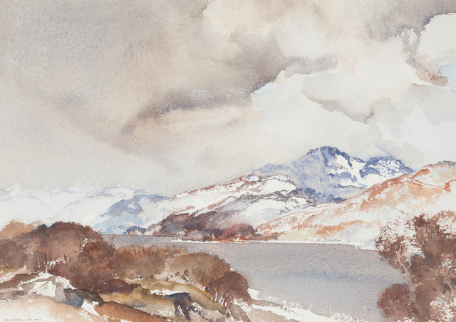 Sir William Russell Flint (British, 1880-1969) The End of February, Loch Earn 26 x 36.5cm