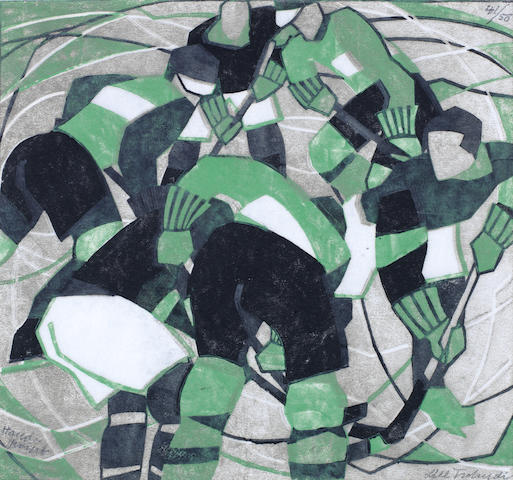Lill Tschudi (Swiss, 1911-2001) Ice Hockey Linocut printed in black, green and greyish beige, 1933, a strong and vibrant impression, on off-white oriental laid paper, with margins, signed in pencil lower right, numbered 41/50 top right, inscribed 'handprint' lower left, 260 x 280mm (10 1/4 x 11in)(B)(unframed)