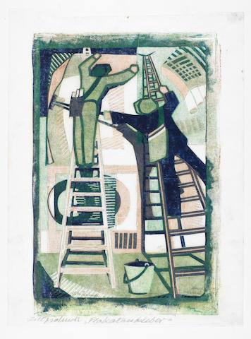 Lill Tschudi (Swiss, 1911-2001) Sticking up Posters Linocut printed in dark blue, brown and viridian, 1933, on off-white oriental laid paper, signed and numbered 39/50 in pencil, inscribed Palkataubeleber' in lower margin, with margins, 302 x 200mm (11 7/8 x 7 7/8in)(SH)