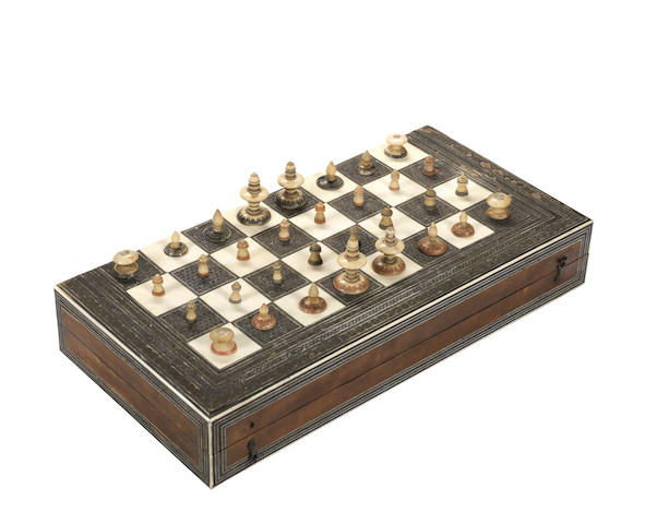 An Islamic bone chess set, India, 19th century,