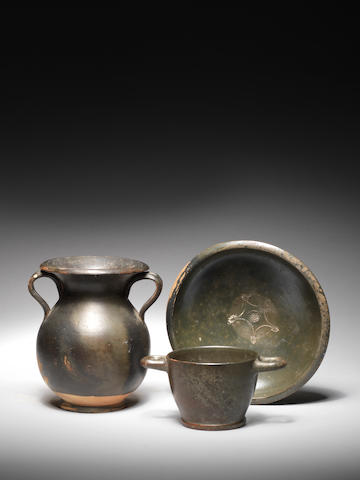 Three Greek black glazed pottery vessels 3