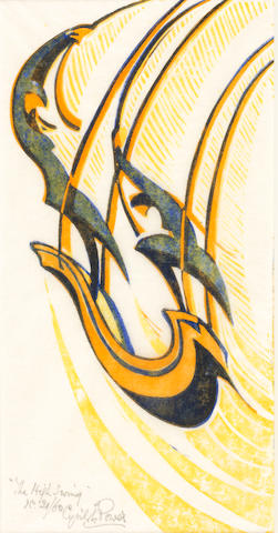 Cyril Edward Power (British, 1872-1951) The High Swing  Linocut printed in chrome yellow, chinese orange and permanent blue, c.1933, on buff oriental laid tissue, signed, titled and numbered 21/60 in pencil, with margins, 300 x 158mm (12 x 6 1/4in)(B)