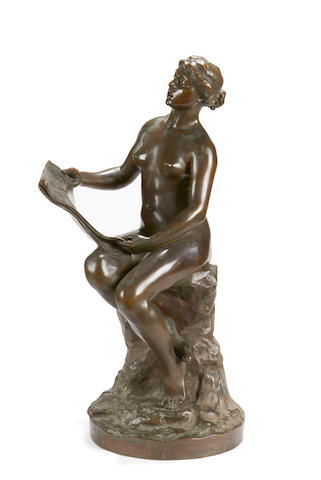 George Ernest Saulo, French (B. 1865) A large bronze figure of a girl singing Le Chant de la Soupce
