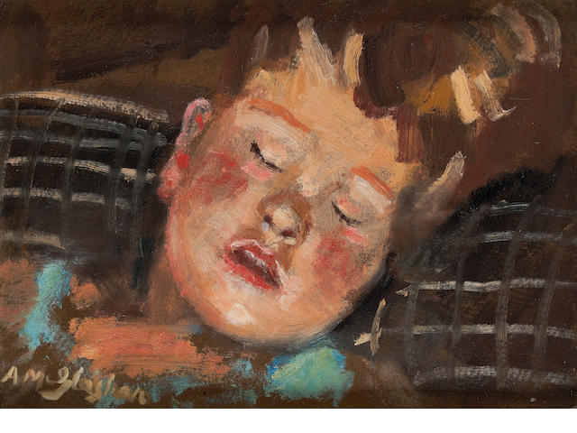 Archibald A. McGlashan, RSA (British, 1888-1980) Sleeping Child 23.5 x 34 cm. (9 1/4 x 13 3/8 in.)
