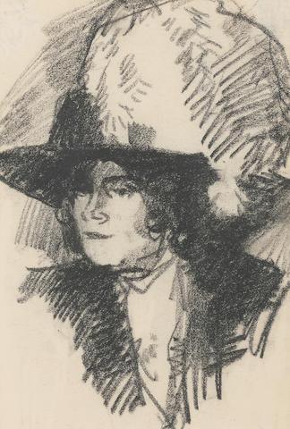 John Duncan Fergusson, RBA (British, 1874-1961) The Feather Hat 17.5 x 12 cm. (6 7/8 x 4 3/4 in.)