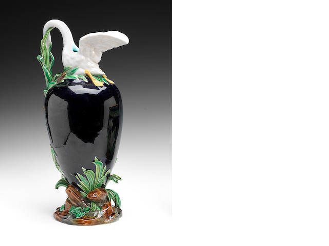 A Brown-Westhead, Moore and Co Majolica ewer, circa 1875