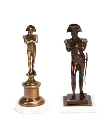 Two late 19th century bronze figures of Napoleon
