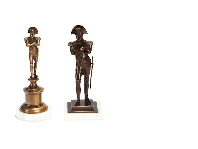 Two late 19th century bronze figures of Napoleon