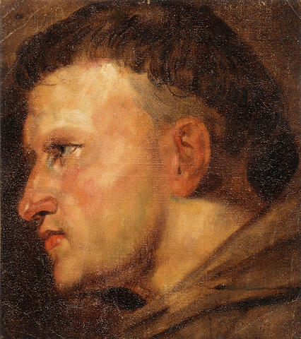 French School, 19th Century A head study of a Franciscan monk