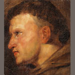 Antwerp School, 17th Century A head study of a Franciscan Monk unframed