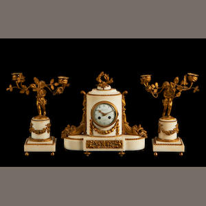 A 19th century French marble and gilt metal mounted clock garniture