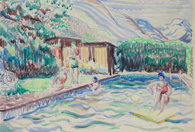 Claude Flight (British, 1881-1955) Swimming Pool Watercolour on paper, 1933, signed in pencil lower right, 382 x 561mm (15 x 22in)(SH)