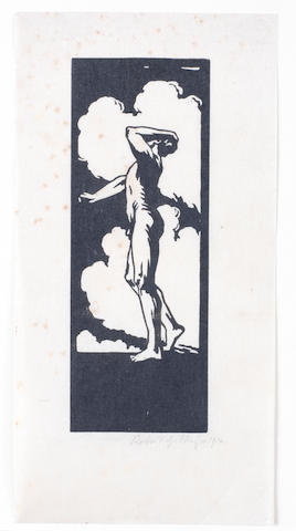 Robert Gibbings (Irish, 1889-1958) Male Nude () Woodcut, 1914, one of only a few known impressions, signed and dated in pencil, 195 x 98mm (SH)