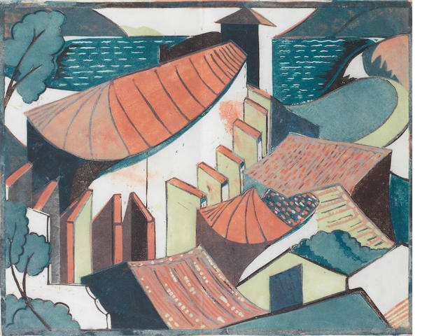 Ursula Fookes (British, 1906-1991) The Village Linocut printed in colours with handcolouring in watercolour, c.1930, on tissue thin Japan, 276 x 345mm (11 x 13 1/2in)(B); together with the original pencil drawing, c.1930, inscribed 'blue, brown', on tracing paper, 335 x 385mm (13 1/8 x 15in)(SH) (unframed) 2