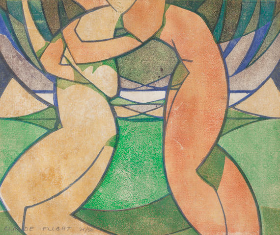 Claude Flight (British, 1881-1955) Spring (from the four seasons) Linocut printed in yellow ochre, vermillion, mauve, emerald green and cobalt blue, 1926, on cream oriental laid paper, signed and numbered 21/50 in pencil, with margins, 260 x 312mm (10 1/4 x 12 1/4in)(B)