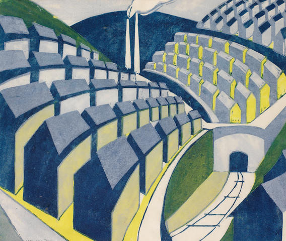 Ursula Fookes (British, 1906-1991) Built Up Town Linocut printed in dark blue, light blue, olive green and lemon yellow, c.1932, on buff oriental laid paper, signed and numbered 7/50 in pencil, with margins, 237 x 280mm (9 3/8 x 11in)(B)