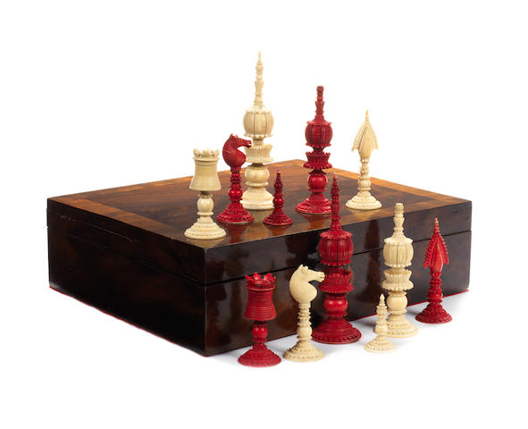 "A ""Pepys"" ivory chess set, Vizagapatam, India, early/mid 19th century,"