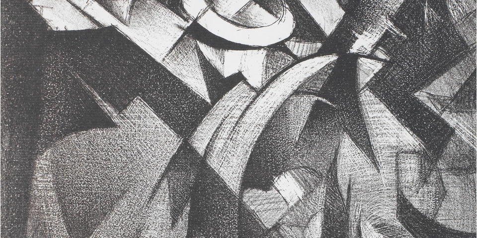 Christopher Richard Wynne Nevinson A.R.A. (British, 1889-1946) Bomber The very rare lithograph, 1918, on laid Antique de luxe paper, signed and dated in pencil, with margins, 429 x 265mm (17 x 10 1/2in)(SH)