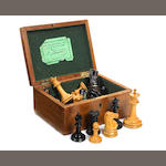 A Staunton weighted boxwood and ebony chess set, Jaques & Son, London, circa 1870,