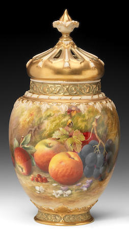A fine Royal Worcester Painted Fruit pot pourri vase and two covers by William Ricketts, dated 1929