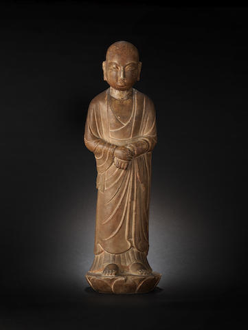 A rare marble figure of a luohan, Tang Dynasty; together with four books Musee Guimet and catalogue of collection of Mr Riaz