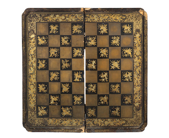 A Chinese Export lacquered games board/box, Canton, early/mid 19th century,