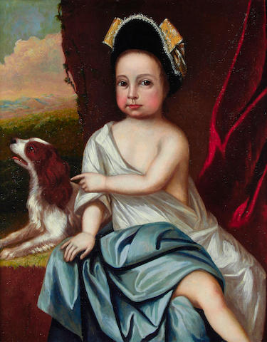 English School, early 18th Century Child with a spaniel