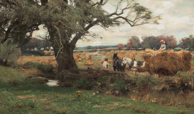 David Farquharson, ARA ARSA RSW ROI (British, 1840-1907) Harvesting near Dumfries 45 x 75 cm. (17 11/16 x 29 1/2 in.)