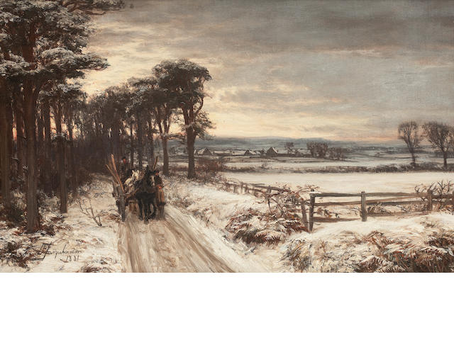 David Farquharson, ARA ARSA RSW ROI (British, 1840-1907) Winter near Dumfries 37 x 60 cm. (14 9/16 x 23 5/8 in.)