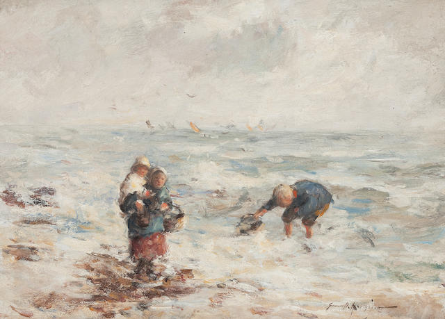 Robert Gemmell Hutchison, RSA RBA ROI RSW (British, 1855-1936) Young Fisherfolk 22.5 x 30 cm. (8 7/8 x 11 13/16 in.)