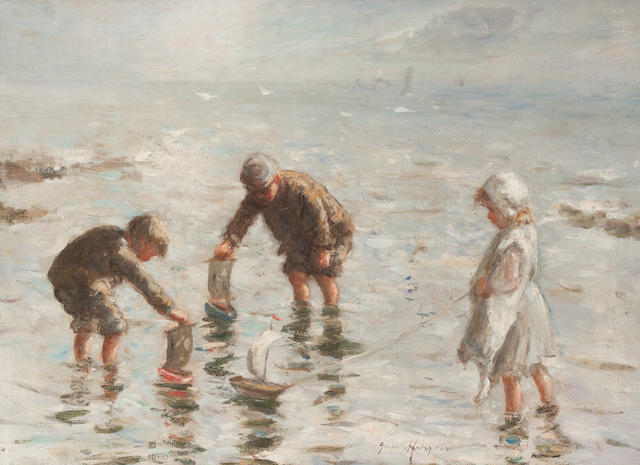 Robert Gemmell Hutchison, RSA RBA ROI RSW (British, 1855-1936) Toy Boats 50 x 68 cm. (19 11/16 x 26 3/4 in.)