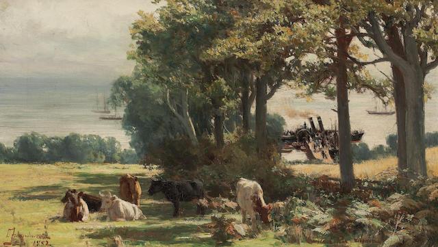 David Farquharson, ARA ARSA RSW ROI (British, 1840-1907) Lamlash Pier Arran 30.5 x 51 cm. (12 x 20 1/16 in.)