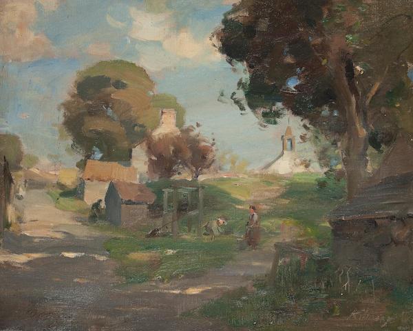 William Miller Frazer, RSA (British, 1864-1961) Kilmany Village Fife 35 x 45 cm. (13 3/4 x 17 11/16 in.)