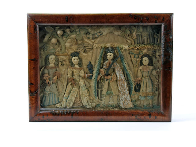 A late 17th century stumpwork picture of a courtly scene