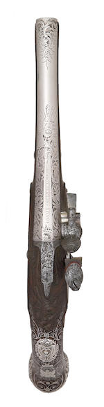 An Exceptional Pair Of 18-Bore Silver-Mounted Flintlock Holster Pistols With Silver Barrels And Lock-Plates