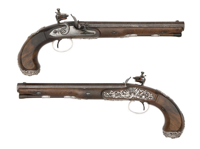 A Very Fine Pair Of 26-Bore Silver-Mounted Flintlock Duelling Pistols