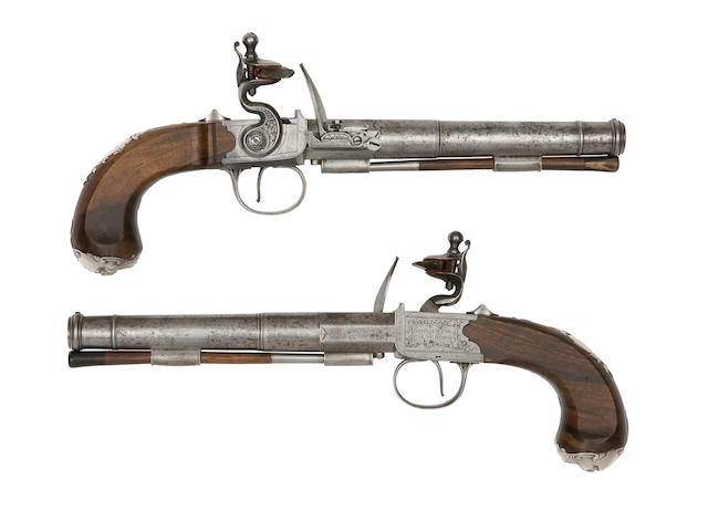A Fine And Rare Pair Of 22-Bore Flintlock Box-Lock Pistols With Detachable Pan And Steel Assembly