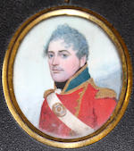Frederick Buck (Irish, 1771-circa 1840) A pair of portrait miniatures of an Officer and a Lady: the former, wearing red coatee with green standing collar, gold trim, buttons and epaulettes, white frilled chemise and black stock, white cross belt over his right shoulder, oval gilt-metal belt plate; the latter, wearing white dress with lace trim to her décolleté, her brunette hair softly curled and upswept