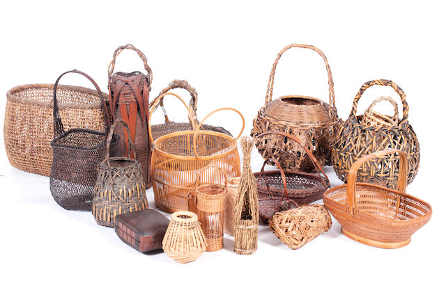A collection of wickerwork baskets