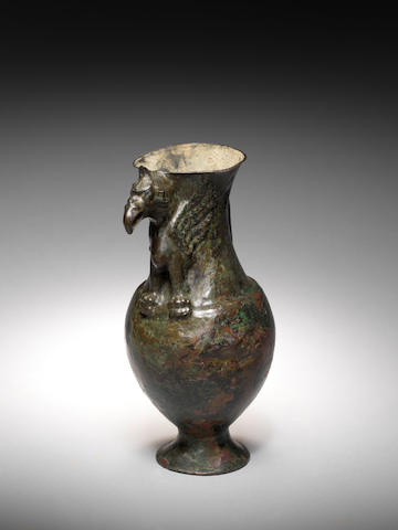 A Parthian bronze vessel with griffin spout