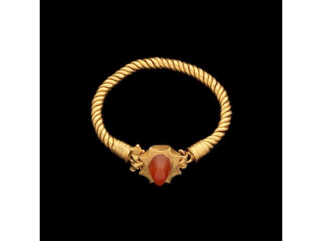 A Roman gold and carnelian bracelet