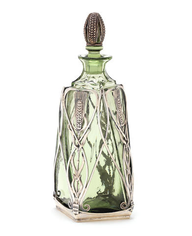 OMAR RAMSDEN: A silver mounted overlay glass decanter, London 1938