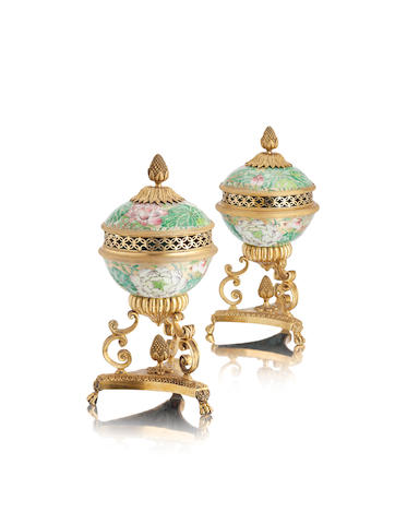 A pair of Regency ormolu-mounted porcelain bowls and covers Jiaqing period