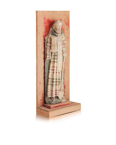 A rare 15th century Nottingham alabaster relief of Saint Fiacre