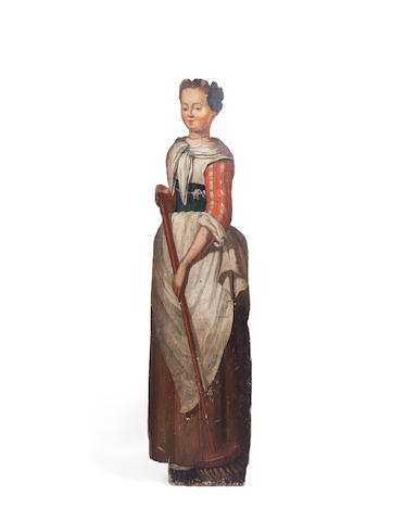 An 18th century painted pine dummy board