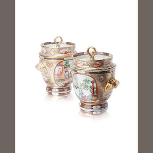 A pair of famille rose ice buckets complete with covers and liners Qianlong period