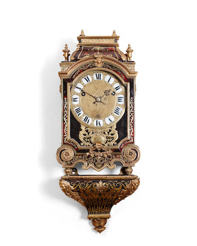 A Regence ormolu-mounted premier-partie cut brass bracket clock Engraved Nicholas Gribelin a Paris