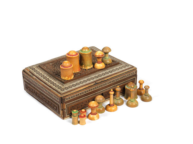 An Islamic ivory chess set, Northern India, possibly 18th century,