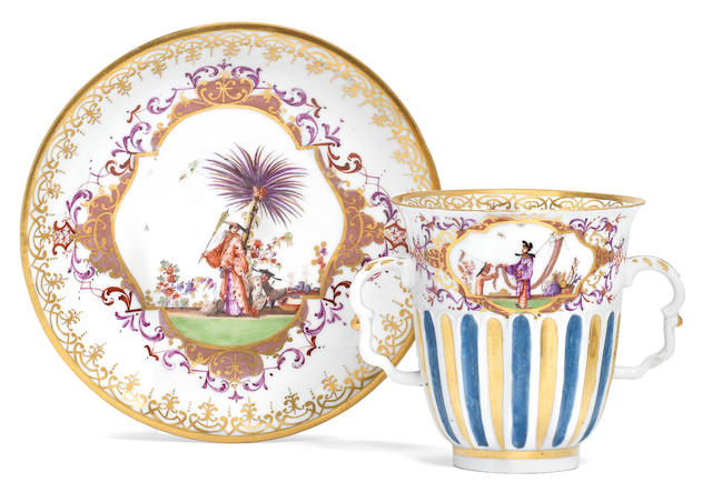 A rare Meissen two-handled chocolate beaker and saucer, circa 1723-25