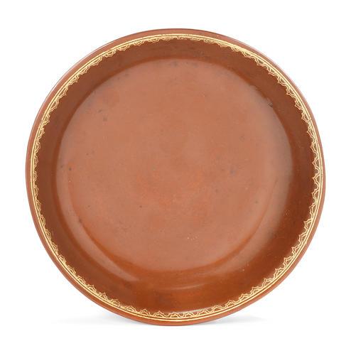 A Meissen Böttger stoneware saucer, circa 1710-13
